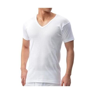 [ビー・ブイ・ディ] V首半袖Tシャツ (S4L) 綿100% 日本製 抗菌防臭 Finest Touch EX メンズ (ホワイト LL)