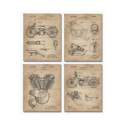 【並行輸入品】ハーレーダビッドソン 特許アートプリント (8インチx10インチ) 4枚セット - 壁装飾 - バイカーへの贈り物に最適