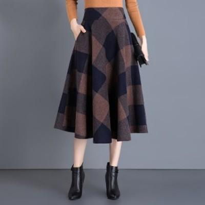 ミモレ丈 スカート ブロックチェック ドレープ フレア 大きいサイズ ♯0670