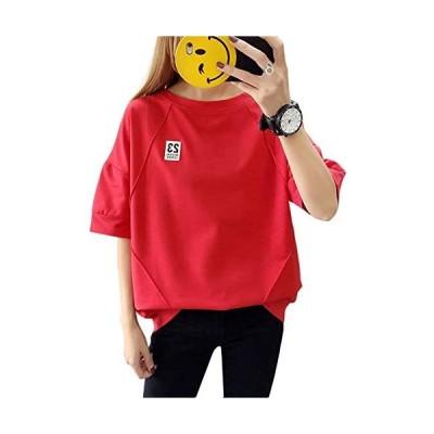 tシャツ レディース 半袖 トップス カットソー ゆったり シンプル 日系 (レッド 2XL)