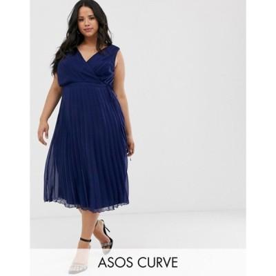 エイソス レディース ワンピース トップス ASOS DESIGN Curve wrap bodice midi dress with tie waist and pleat skirt