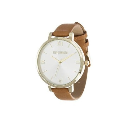 Steve Madden Women's Quartz Watch with Leather-Synthetic Strap, Brown (