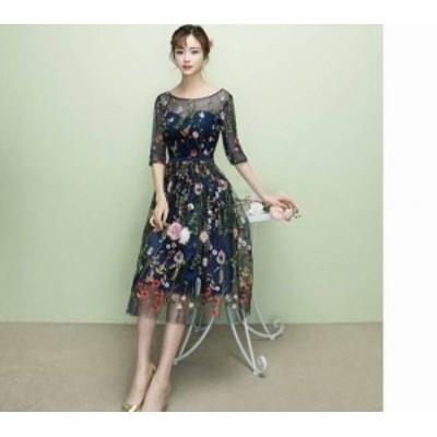 ドレス ワンピース ひざ下丈 五分袖 袖あり 30代 ネイビー 花柄 シースルー 透け感 大人可愛い ガーリー 春夏 結婚式 お呼ばれ a166