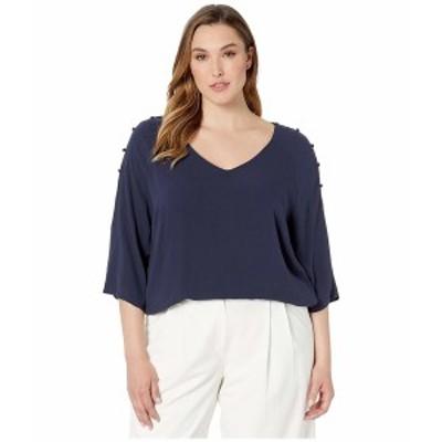 ジュナローズ レディース シャツ トップス Plus Size Pure 3/4 Sleeve Blouse Navy Blazer