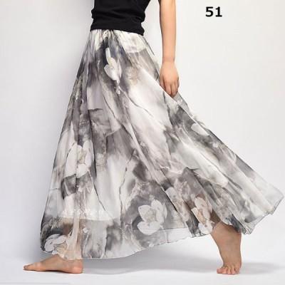 2size18colors選べる花柄パンツ柄シフォンロングスカート マキシスカート レディース 夏 涼しい スカート ウエストゴム Aライン ボトムス 体型カバー 20代 30代