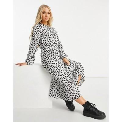 ミスガイデッド レディース ワンピース トップス Missguided midi smock dress with ruffle hem in dalmatian White