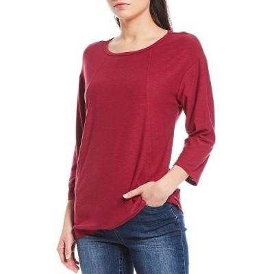 ウェストボンド レディース Tシャツ トップス Petite Size 3/4 Sleeve Seam Solid Cotton Blend Tee Red Plum