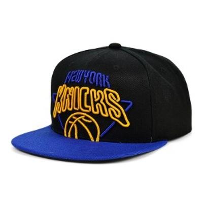 ミッチェル&ネス メンズ 帽子 アクセサリー New York Knicks Neon Crop XL Snapback Cap Black/RoyalBlue