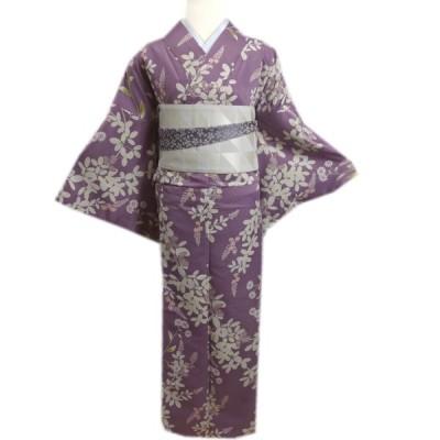 着物 洗える 袷 「ヒロミチ ナカノ」 半巾帯 細帯 リバーシブル セット 紫色地南天小花 L