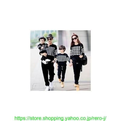 親子家族ペアルックペアパーカーセットアップドット柄上下お揃い家族ペアカップルパーカスウェット春秋長袖パパママキッズ