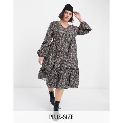 イン ザ スタイル プラス レディース ワンピース トップス In The Style Plus X Jac Jossa midi smock dress in small floral print Multi