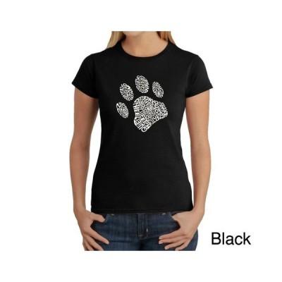 エルエーポップアート レディース Tシャツ トップス Women's Word Art T-Shirt - Dog Paw