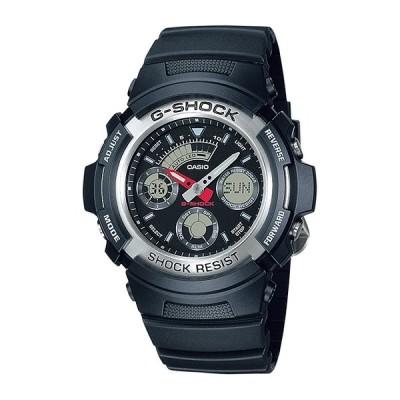 10年保証 CASIO G-SHOCK カシオ Gショック AW-590-1A 腕時計 時計 ブランド メンズ キッズ 子供 男の子 アナデジ 日付 カレンダー 防水 ブラック 黒 シルバー