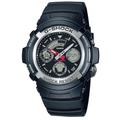 10年保証 CASIO G-SHOCK カシオ Gショック AW-590-1A 腕時計 メンズ キッズ 子供 男の子 アナデジ 防水 ブラック 黒 シルバー