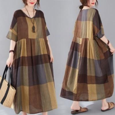 大きいサイズ レディース レトロ ゆったり チェック コットン カジュアル ドレス 半袖 ミドル丈 ワンピース シャツ