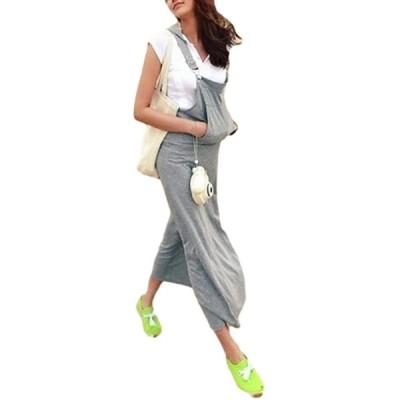 【カナエルン】 ジャンスカ フード付き レディース ロング ワンピース ジャンパースカート 大きいサイズ 体形カバー ゆったり 柔らか 授乳 出産準備