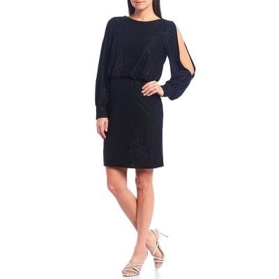 ジェシカハワード レディース ワンピース トップス Long Split Sleeve Blouson Glitter Knit Dress Black