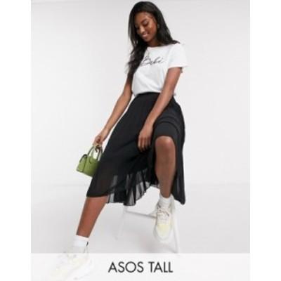 エイソス レディース スカート ボトムス ASOS DESIGN Tall pleated midi skirt in black Black