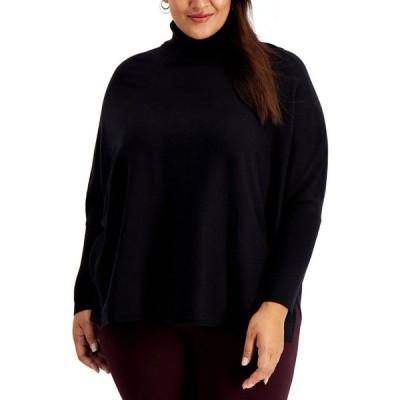 アルファニ Alfani レディース ニット・セーター 大きいサイズ トップス Plus Size Drop-Shoulder Turtleneck Sweater Deep Black