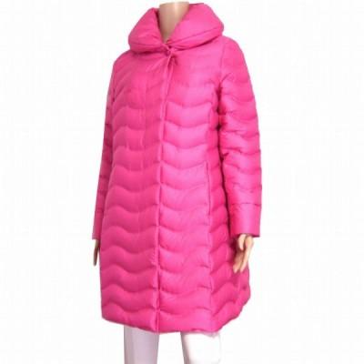 美品/ふっくら極暖ダウンコート ダウン90% 表記L(11号/40号相当) ピンク 軽量 へちま襟 膝丈 シンプル 秋冬向け アウター レディース