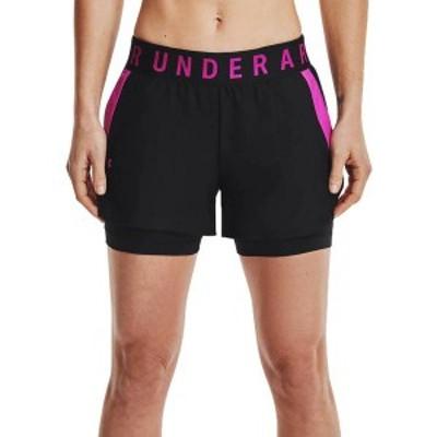 アンダーアーマー レディース ハーフパンツ・ショーツ ボトムス Under Armour Women's Play-Up 2-in-1 Shorts Black/Black/Pink