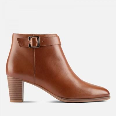 クラークス Clarks レディース ブーツ ショートブーツ シューズ・靴 Kaylin60 Leather Heeled Ankle Boots - Dark Tan Brown