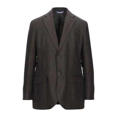 LUBIAM テーラードジャケット ダークブラウン 56 リネン 100% テーラードジャケット