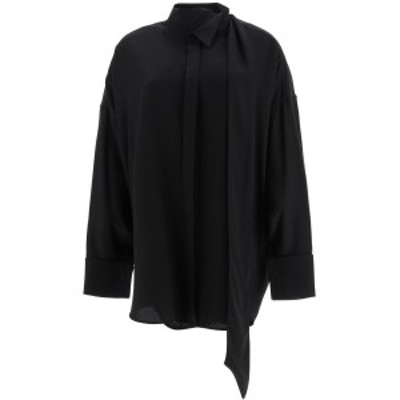 BALENCIAGA/バレンシアガ Black Balenciaga tuxedo shirt with lavalliere レディース 秋冬2020 642258 TJO46 ik