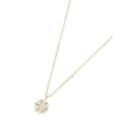 COCOSHNIK/ココシュニック K18ダイヤモンド プリンセスカット取巻き ネックレス イエローゴールド(104) 40