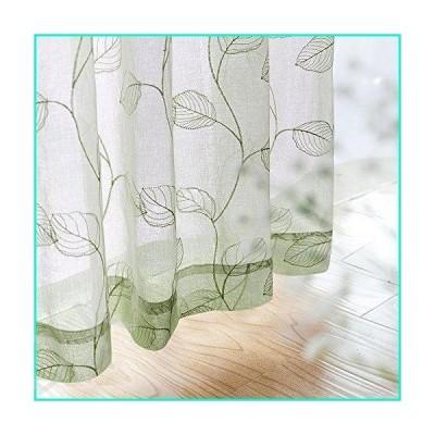 Sheer Curtains for Bedroom Rod Pocket Embroidered Leaf Window Curtains 54 inch Length Botanical Geometric Drapes Living Room 2 Panels Sage