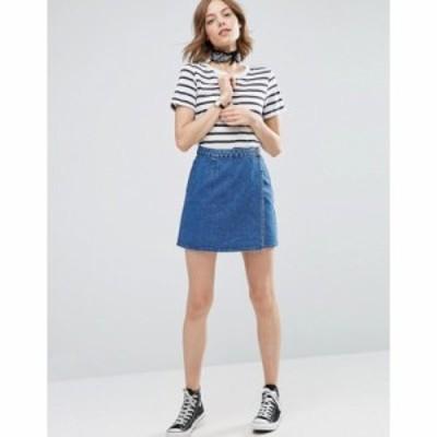 エイソス ミニスカート ASOS Denim Wrap Skirt in Mid Wash Blue Midwash