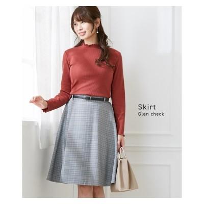 スカート ひざ丈 レディース グレンチェック 上品 すっきり見せ フレア ベルト付 M/L ニッセン