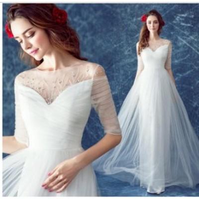ウェディングドレス 結婚式 花嫁 二次会 パーティードレス スレンダーライン ウエディングドレス ブライダル ロングドレス 手作り 白