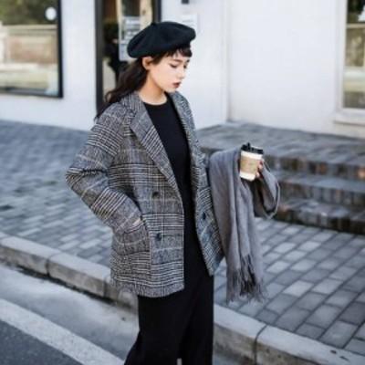 ジャケット コート チェック柄 ミドル丈 厚手 暖かい レトロ おしゃれ きれいめ カジュアル 通勤 おでかけ