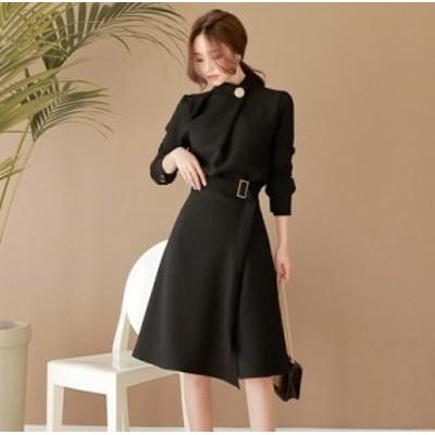 フォーマルなモード系ミモレ丈ワンピースドレス a0132