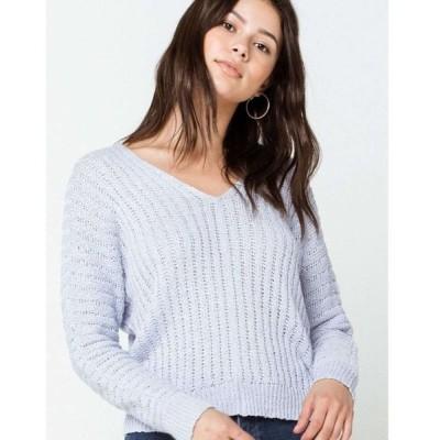 フルティルト FULL TILT レディース ニット・セーター トップス Essentials Dolman Cream Sweater LIGHT BLUE