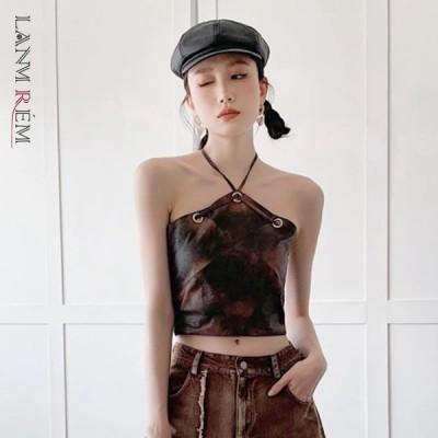 海外輸入アパレル LANMREM不規則な格子縞のステッチは、胸の女性のベスト2021 2P3014  LANMREM Irregular Plaid