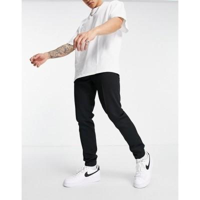 エイソス メンズ カジュアルパンツ ボトムス ASOS DESIGN skinny smart sweatpants in black waffle Black