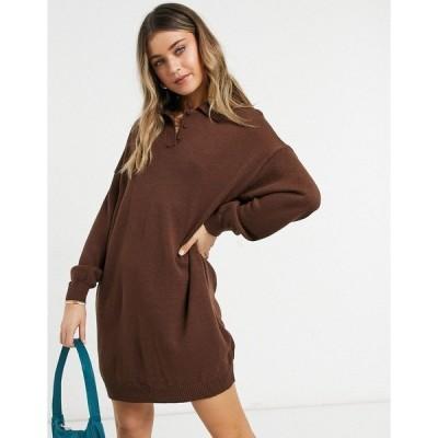 エイソス レディース ワンピース トップス ASOS DESIGN mini dress with polo neck in brown Brown