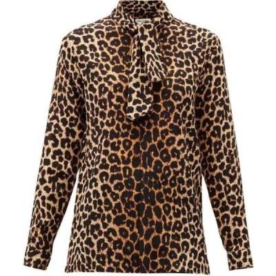 イヴ サンローラン Saint Laurent レディース ブラウス・シャツ トップス Leopard-print silk-crepe blouse Brown