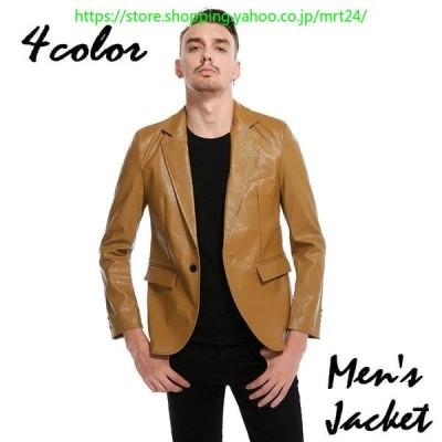 テーラードジャケット メンズ 長袖 アウター 男性 上着 ブレザー スーツ ひとつボタン 無地 カジュアル おしゃれ かっこいい 紳士 ブラック シン