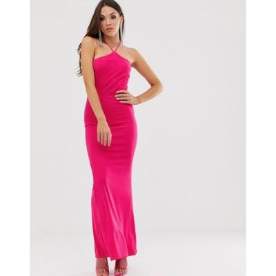 エイソス マキシドレス レディース ASOS DESIGN hot pink halter maxi dress エイソス ASOS