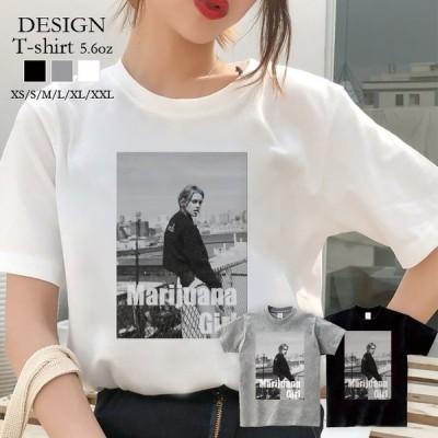 Tシャツ レディース 半袖 トップス ブランド ユニセックス メンズ プリントTシャツ マリファナ ガンジャ BAD GIRLS weed bitch かわいい おしゃれ