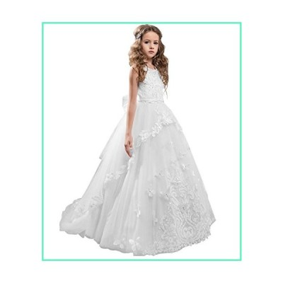 Flower Girl Dress Kids Lace Beaded Pageant Ball Gowns (Size 2, B White)並行輸入品