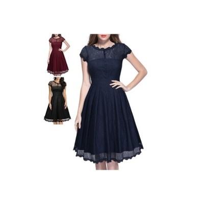 レースワンピース 春ワンピース ドレス ハイウェスト 半袖 結婚式 ウエディング 披露宴 二次会 刺繍 送料無料