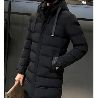 ダウンジャケット メンズ ダウンコート 厚手 フェザー フード付き 冬アウター 防寒防風 スリム 素地 冬服 保温 3色 ハイネック 大きいサ