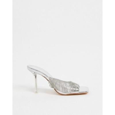 パブリックデザイア レディース サンダル シューズ Public Desire Shimmer embellished heeled mules in silver Silver
