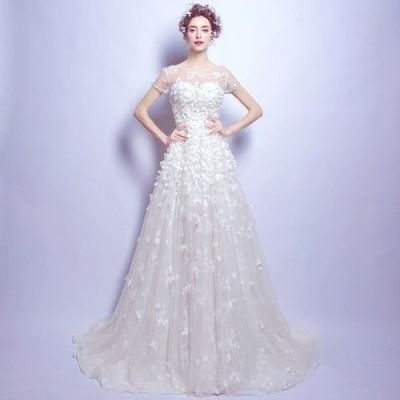 パーティードレス ウエディングドレス トレーンタイプ 披露宴 ブライダル 上品な 花嫁ドレス オシャレ スレンダーライン 演奏会ドレス 素敵な 発表会ドレス