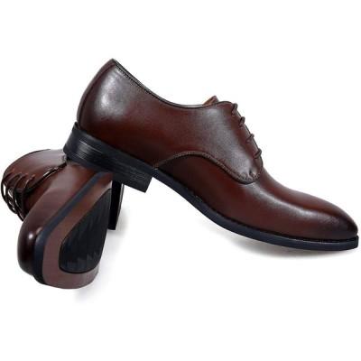 アラモーダ 日本製 ビジネスシューズ 本革 メンズ 革靴 紳士靴 外羽根プレーントウ 1261 ダークブラウン 27.5cm