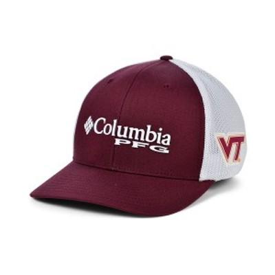 コロンビア メンズ 帽子 アクセサリー Virginia Tech Hokies PFG Stretch Cap Maroon/White